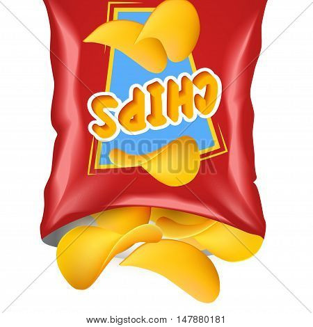 Red realistic package with chips and emblem with chips poured from top to bottom from the package vector illustration