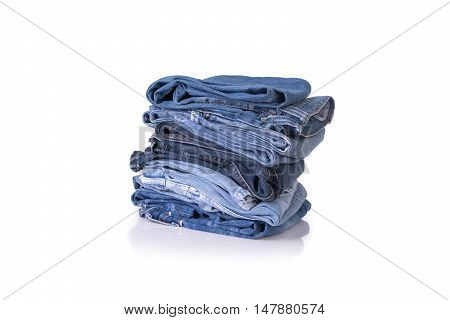 Blue jeans stack on isolate white background