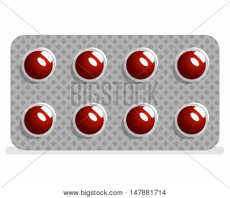 Package drugs tablets and pills medical icon isolated design vector illustration