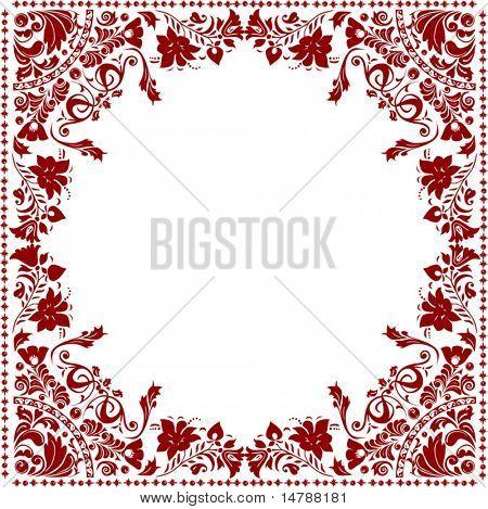 illustration with red floral frame decoration
