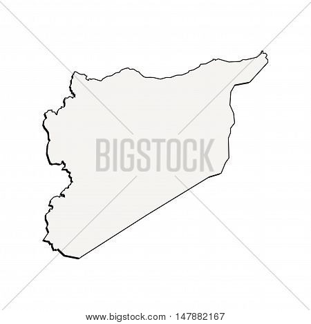 3D Vector Syria Map Border Concept Outline