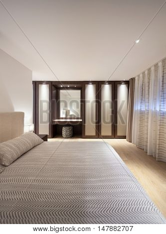 bedroom of luxury house, comfortable double bed