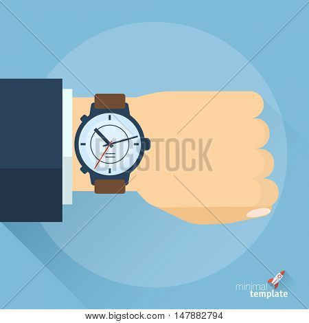 Vector business time abstract. Hhuman hand with watch icon.