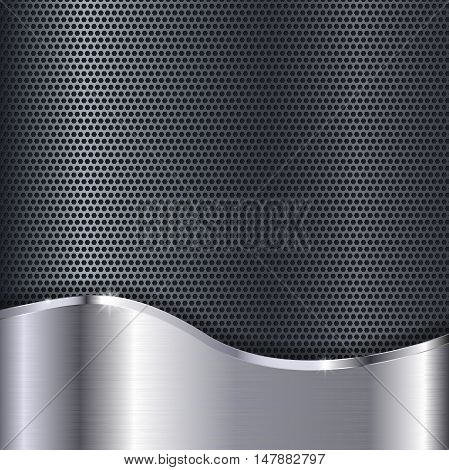 Metal shiny background with perforation. Vector illustration