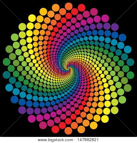 Abstract colorful rainbow swirly dotted wallpaper  background.