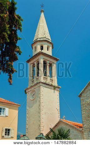 Bell tower of Church in Old Town of Budva, Montenegro.