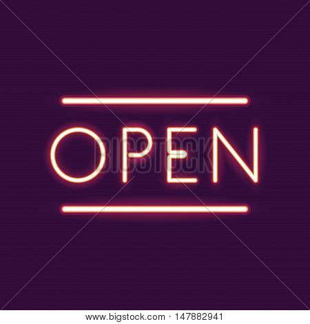 Open neon font icon. Text typography decoration and advertising theme. Colorful design. Vector illustration