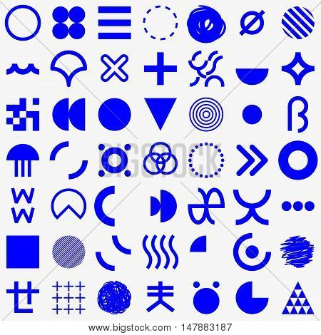 Set of abstract geometric primitive symbols. Minimalistic signs. Element of design.
