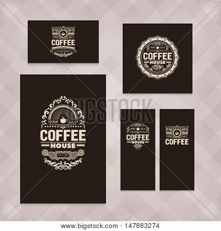 Set of five vector, vintage coffee badges for coffee advertising. Coffee sing badges for coffee shop, banners, menu, chalkboard