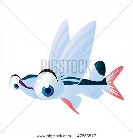 vector funny animal cute character illustration. Sealife designs. Flying Fish
