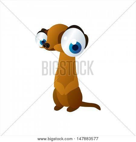 funny vector illustration of cute animal. Cartoon Meerkat