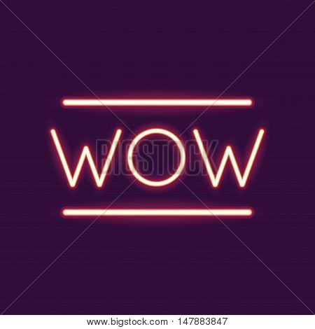 wow neon font icon. Text typography decoration and advertising theme. Colorful design. Vector illustration