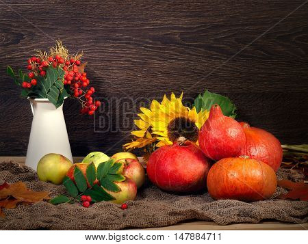 Autumn Still Life. In crop pumpkins apples sunflowers branches with berries of mountain ash and ears of wheat