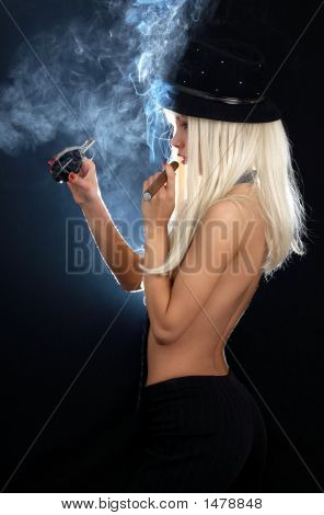 Cabaret Girl With Cigar And Grenade