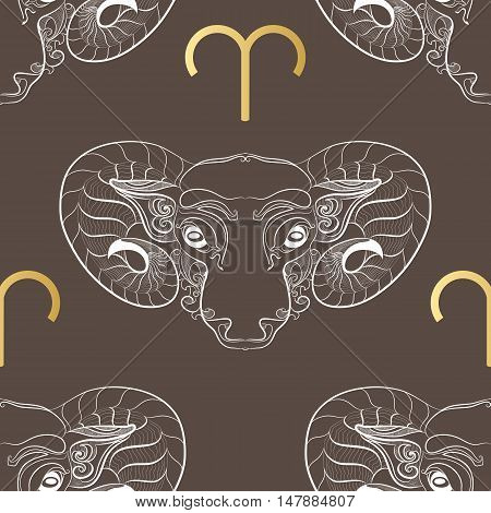 Hand drawn line art of decorative zodiac sign Aries. Horoscope vintage seamless pattern in zentangle style.