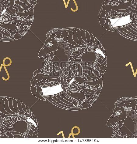 Hand drawn line art of decorative zodiac sign Capricorn. Horoscope vintage seamless pattern in zentangle style.