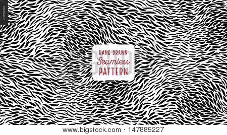 Hand drawn back and white pattern. Fur or leaves seamless black and white pattern
