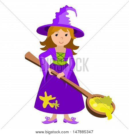 Vector cartoon image of funny witch with spoon potion on a white background. Halloween. Vector illustration.