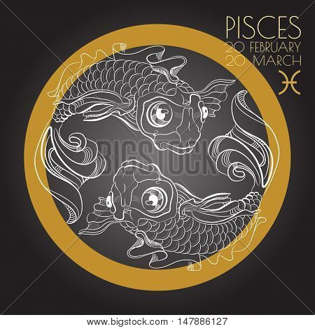 Hand drawn line art of decorative zodiac sign Pisces on black background. Horoscope vintage card in zentangle style.