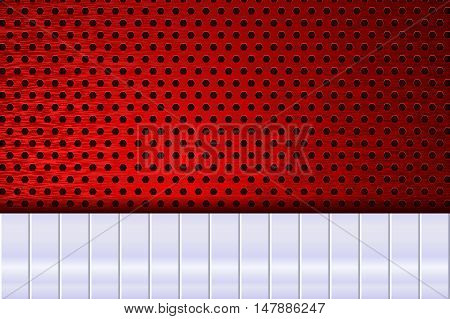 Perforated metal background. With silver steel plate. Vector illustration