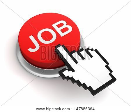 job button 3d illustration isolated on white background