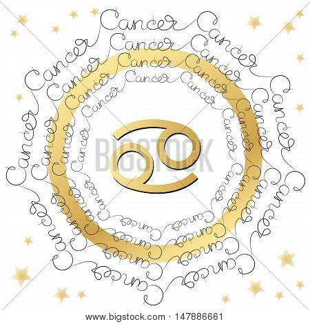 Decorative zodiac sign Cancer on white background. Horoscope vintage card with words and stars.