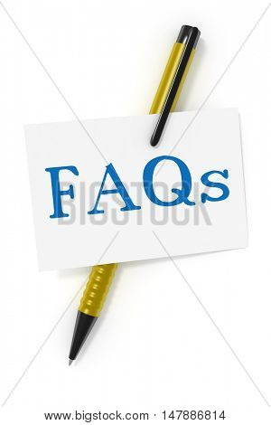 3d rendering of a business card and a ball pen and the text FAQs