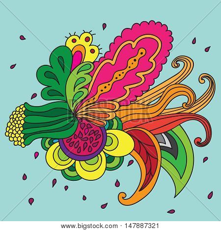 Composition of unreal flower. Isolated. Design element. Abstract garland. Vector background