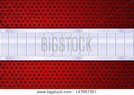 Metal plate on red perforated background. Vector illustration
