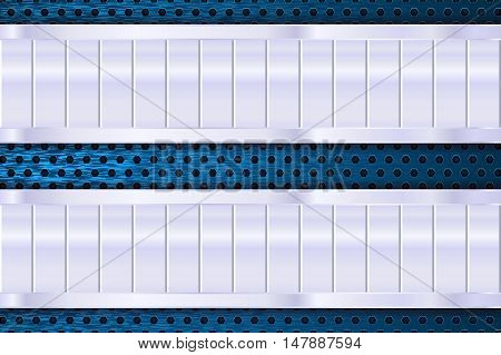 Metal plates on blue perforated background. Vector illustration