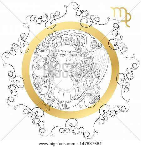Hand drawn line art of decorative zodiac sign Virgo on white background. Horoscope vintage card in zentangle style with words.