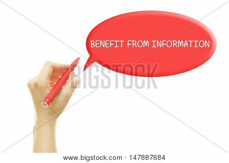 Woman hand writing BENEFIT FROM INFORMATION on a transparent wipe board.