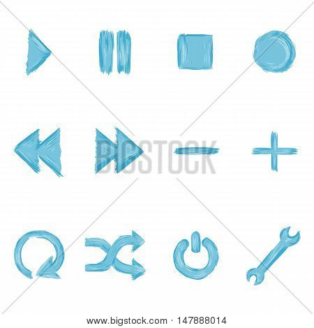 Vector Set Of Blue Paint Audio Player Buttons
