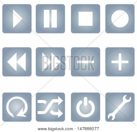 Vector Set Of Gradient Audio Player Buttons