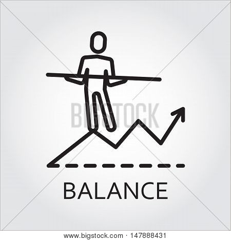Black flat line vector icon with a picture of balance as man goes on the chart on white background.