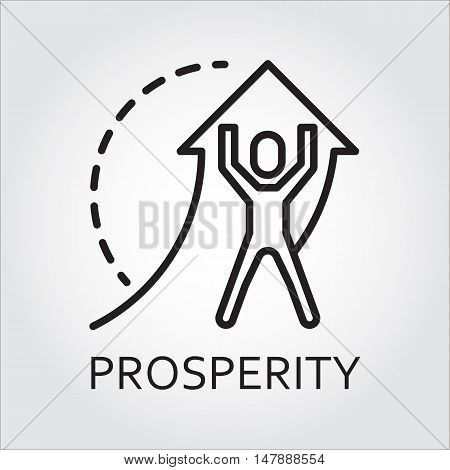 Black flat line vector icon with a picture of prosperity as man lifts arrow on white background.