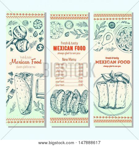 Mexican food design template. Vertical banners set. Mexican food cafe menu. Vector illustration.