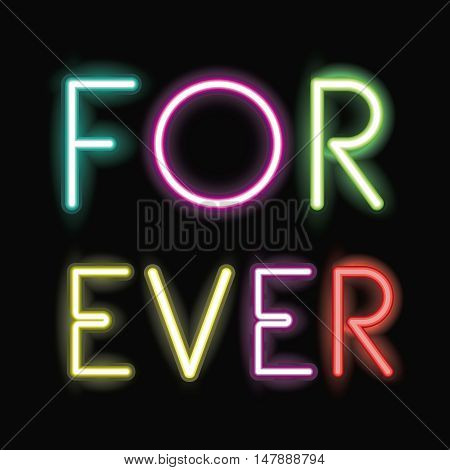 For ever neon font icon. Text typography decoration and advertising theme. Colorful design. Vector illustration