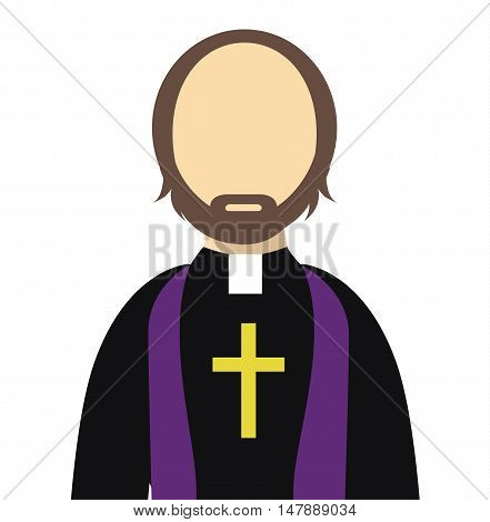 Priest/Reverend Flat Vector Isolated - Priest flat icon with a cross - christian catholic religious vector graphic isolated illustration
