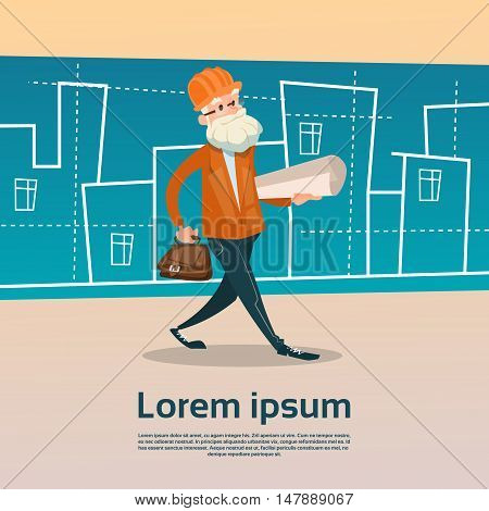 Architect With Drawing House Project Building Flat Vector Illustration