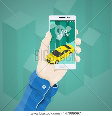 Phone in hand vector illustration in flat style. Man's hand holding a phone concept.  Order a taxi online. Service for travel. 3d yellow taxi on white phone screen
