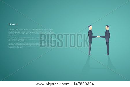 Business deal symbol with two businessmen handshake. Partnership concept vector background. Eps10 vector illustration.