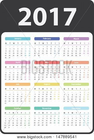 calendar 2017 starts on monday, calendar 2017, organizer 2017, vector calendar, pocket calendar design, vertical calendar, colored calendar