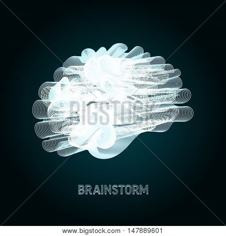 conceptual illustration of human brain build of thousand intertwined lines