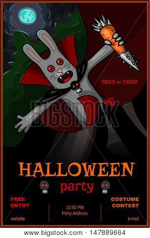 Vampire rabbit with steel carrot - Halloween party banner or poster