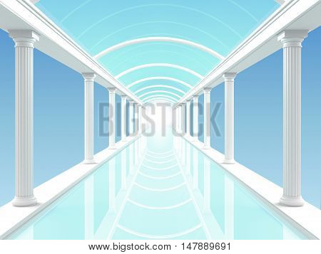 3D illustration of a white colonnade or corridor or swimming against the blue clear sky