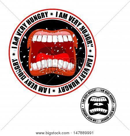 I Am Very Hungry Stamp. Printing For Hungry People. Open Mouth And Teeth. Flying Drooling