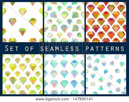 Set Of Seamless Patterns With Colorful Diamonds. The Faceted Diamond. Vector Illustration.