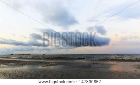 Coast beach in the Caspian Sea near Baku at sunset.Azerbaijan