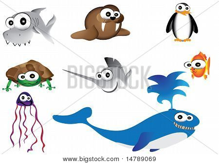 sea animal vector illustration,ocean life cartoon hand drawn illustration